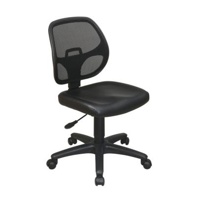 Mesh Screen Back Task Chair with Vinyl Seat in Black - EM2910V