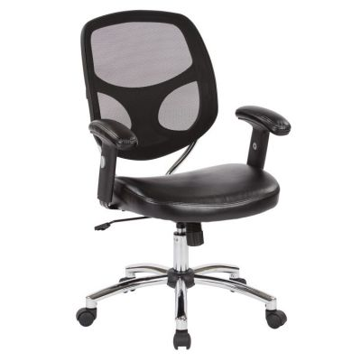 Screen Back Task Chair with Faux Leather Seat in Black - EM32009C-U6