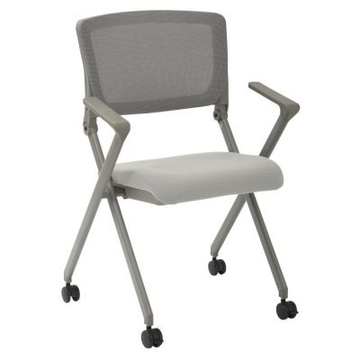 Folding Chair with breathable Mesh Back in Grey - FC8482-2