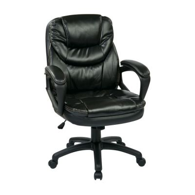 Faux Leather Managers Chair in Black - FL660-U6