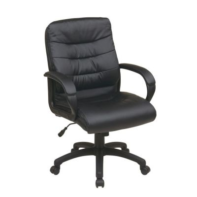 Mid Back Faux Leather Executive Chair in Black - FL7481-U6