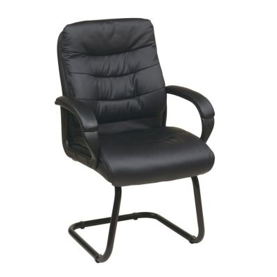 Faux Leather Visitors Chair in Black - FL7485-U6