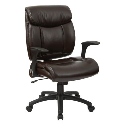 Faux Leather Managers Chair with Flip Arms in Chocolate - FL89675-U2
