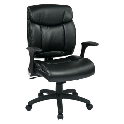 Faux Leather Managers Chair with Flip Arms in Black - FL89675-U6
