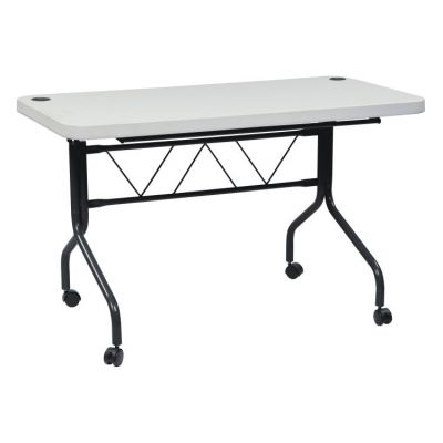 4' Resin Multi Purpose Flip Table in Grey top, Black Frame - FT6634