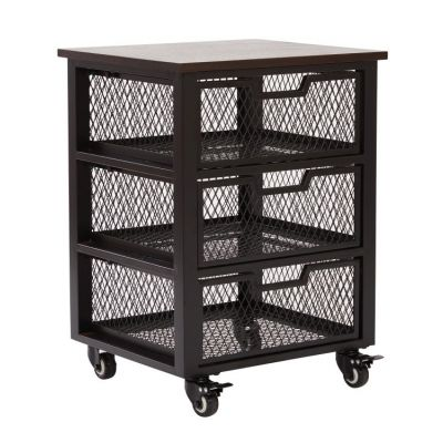 Garret Black 3 Drawer Rolling Cart in Black - GRT03AS-BK