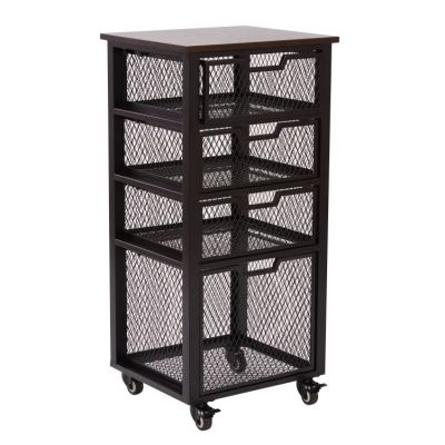 Garret Black 4 Drawer Rolling Cart in Black - GRT04AS-BK