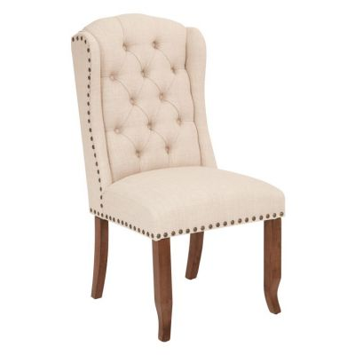 Jessica Tufted Dining Chair in Linen - JSA-L38
