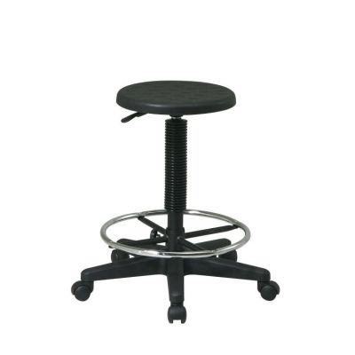 Stool with Adjustable Footrest in Black - KH507