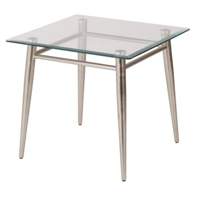 Brooklyn Glass Square Top End Table in Nickel Brush Finish - MG0922S-NB