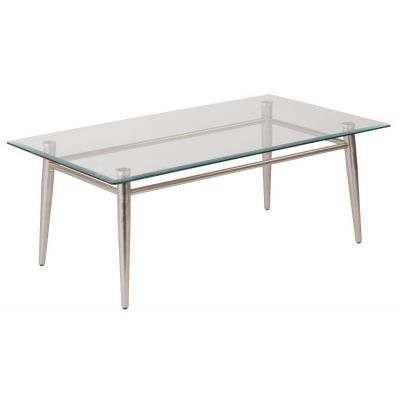 Brooklyn Glass Top Coffee Table in Nickel Brush Finish - MG1242S-NB