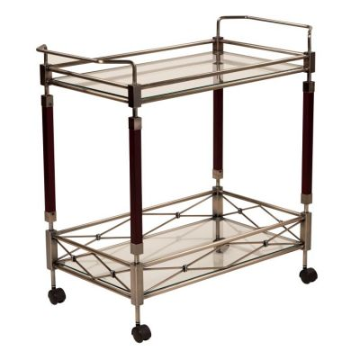 Melrose Serving Cart in Antique Brush Metal & Walnut Wood - MLR37-ABR