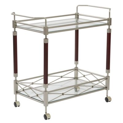 Melrose Serving Cart in Nickel Brush Metal & Walnut Wood - MLR37-NB