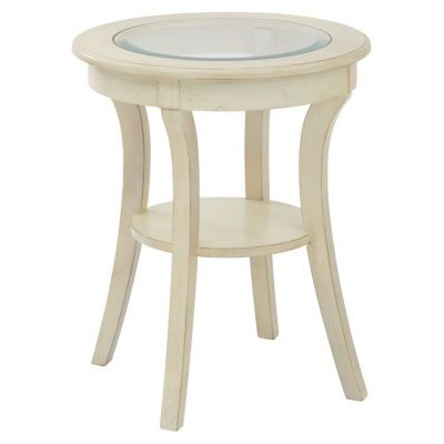 Harper Round Accent Table in Antique White - OP-HRAS1-DH4