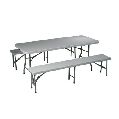 3 Piece Folding Table and Bench Set in Light Grey - QT3965