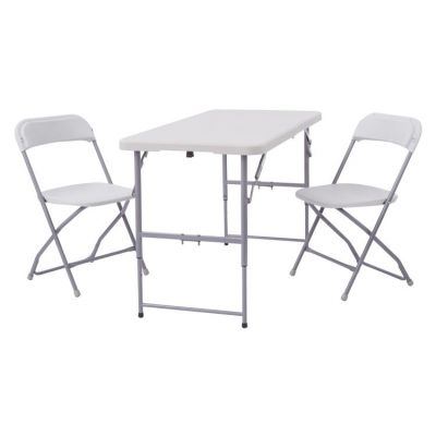 3 Piece Folding Set 2 Chairs And Table In Light Grey