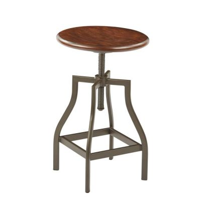 Sullivan Swivel Stool in Pewter&Walnut - SLVNS344-PTWA