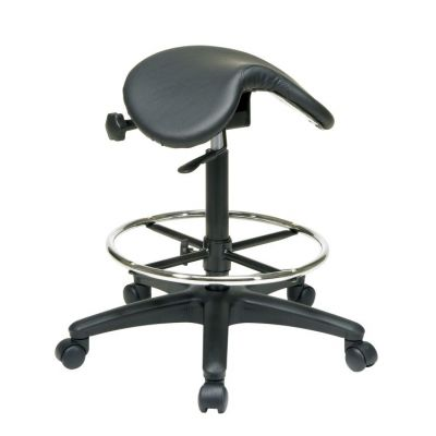 Backless Stool with Saddle Seat in Black - ST205