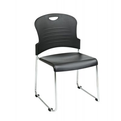 Stack Chair with Sled Base in Black - STC866C2-3