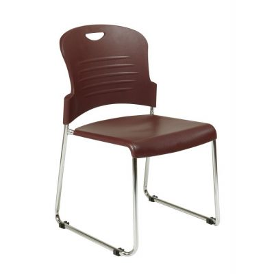 Stack Chair with Sled Base in Burgundy - STC866C2-4