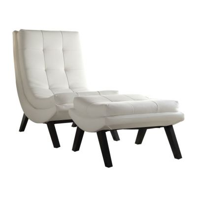 Tustin Lounge Chair and Ottoman Set in White - TSN51-W32