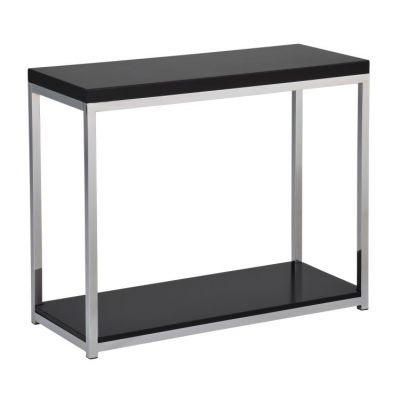 Wall Street Foyer Table in Black & Chrome Finish - WST07-BK