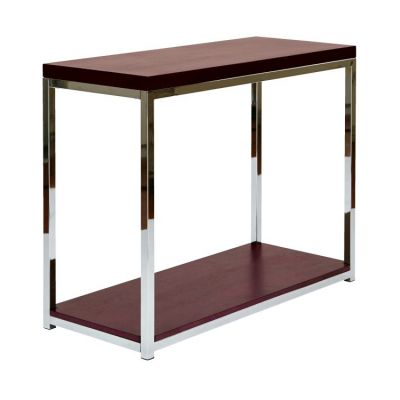 Wall Street Foyer Table in Espresso & Chrome - WST07