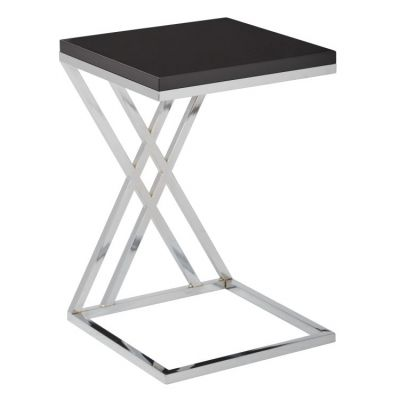Wall Side Table in Black & Chrome Finish - WST16-BK
