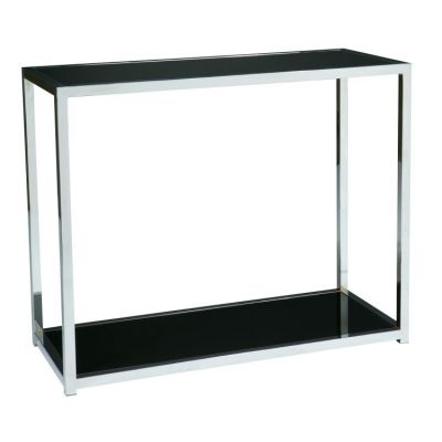 Yield Foyer Table in Chrome & Black Glass - YLD07