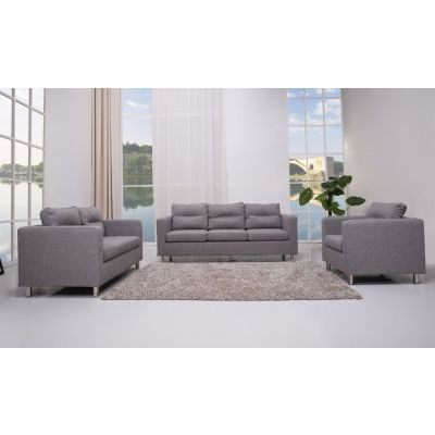 Aurora Fabric 3 Pc Living Room Set in Ash