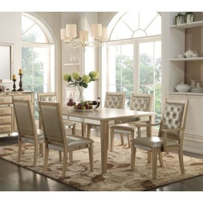 Voeville 7 piece Antique White Dining Table Set - 001245_Kit