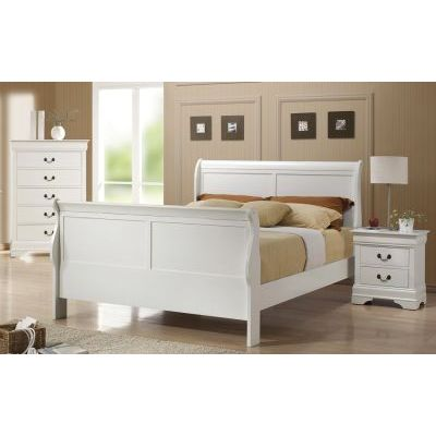 3 Piece Queen Sleigh Bedroom Set in White