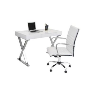 Luster 2 Piece Home Office Set in White