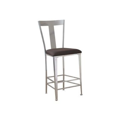 Metal Contemporary Barstool with Silver Finish - 14B8046BS