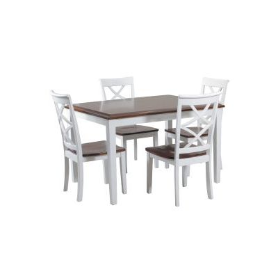 Harrison 5 Piece Stoneberry Dining Set in Cherry and White - 14D2041