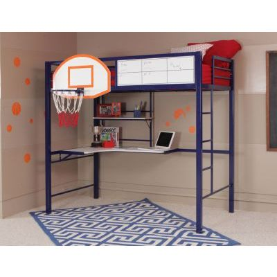 Hoops Basketball Loft Bed in Blue Finish - 14Y2002BB
