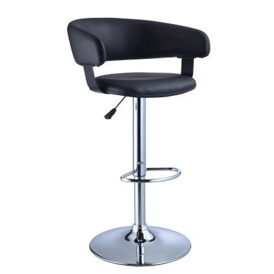 23' Adjustable Barstool with Black Quilted Faux Leather Seat - 212-915