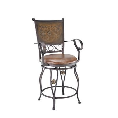 Big & Tall Copper Stamped Back Counter Stool with Arms - 222-430