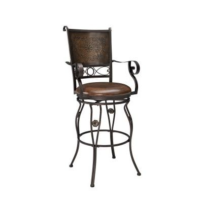 Big & Tall Copper Stamped Back Barstool with Arms - 222-432