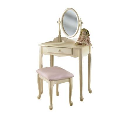 Off-White Vanity  Mirror & Bench - 929-290