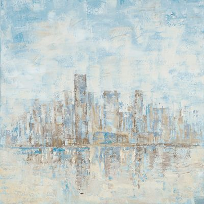 City Brushed with Blue Original Hand Painted Wall Art - ARTAFE1945