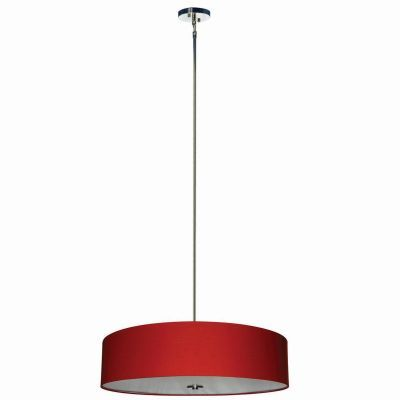 Lyell Forks 5 Light Pendant in Satin Steel in Red Shade - SH3007-5P-CPRS