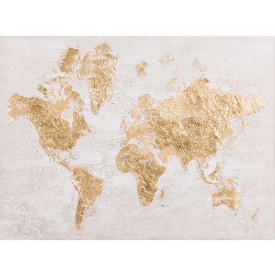 Map in Gold Original Hand Painted Wall Art - YL150861A