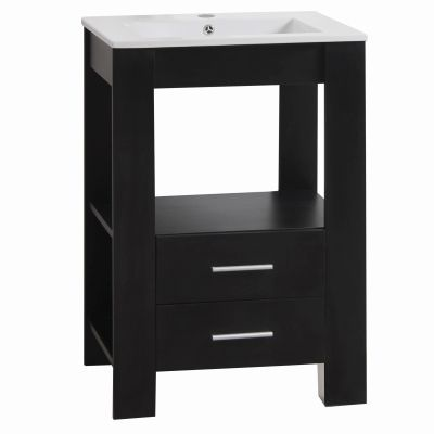 24 Inch Single Vanity in Black Finish - YVEC-480BK