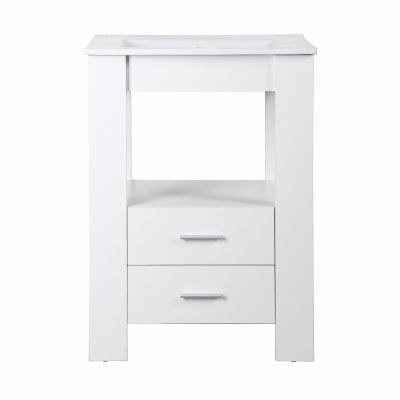 24 Inch Single Vanity in White Finish - YVEC-480WH