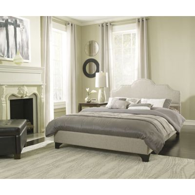 Colby Queen Bed with Mattress in Taupe - 001703_Kit