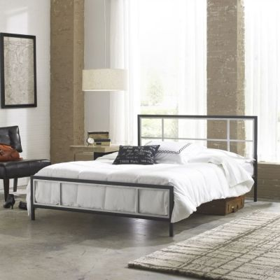 Finley Queen Bed with Mattress in Black/Silver - 001694_Kit