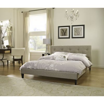 Luca Queen Bed with Mattress in Taupe - 001702_Kit