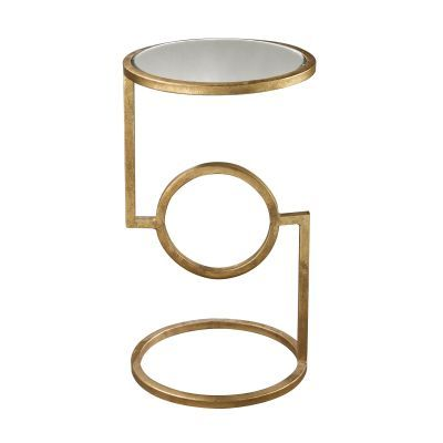 Mirrored Top Hurricane Side Table Gold Finish - 114-108