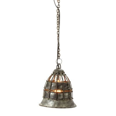 Flared Fortress 1 Light Pendant In Distressed Silver - 135003